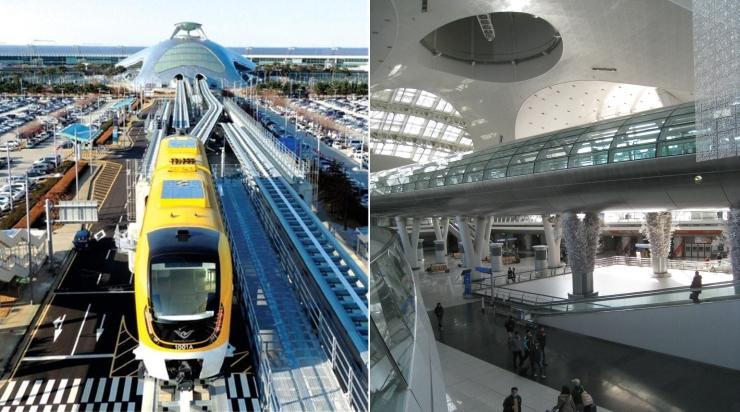 인천공항 자기부상열차(왼쪽)와 공항철도와 자기부상열차 인천공항역이 있는 교통센터 사진입니다.