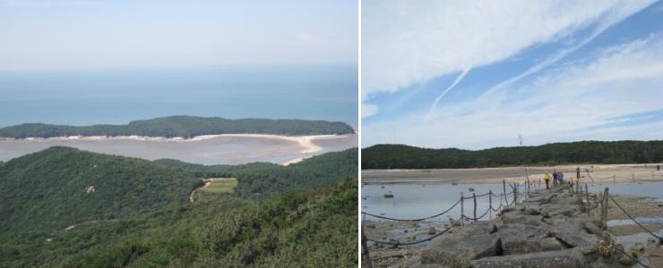 무의도 실미해변 앞에 있는 실미도 전경 사진 이미지입니다. 썰물때 징검다리 길이 드러난 풍경 사진 이미지입니다.