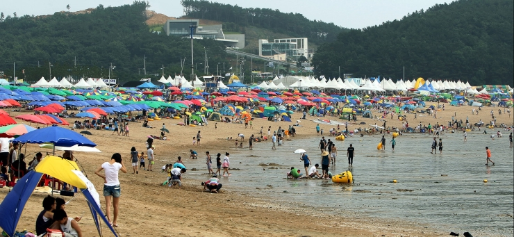 여름철 왕산 해수욕장에서 수영을 즐기고 있는 모습과 해변가에는 파라솔이 많이 있는 모습을 담은 사진 이미지입니다.