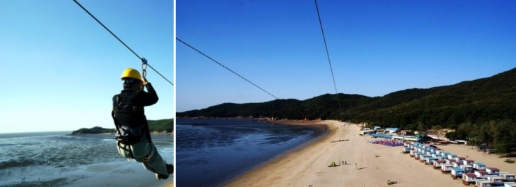 해변에는 특별한 체험거리인 '씨 스카이월드'가 있어 높이 25m 철탑 정상에서 400m로 이어진 줄을 타고 해변 전경을 내려다보며 새처럼 날아볼 수 있다