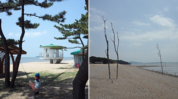 옹암해변의 주변 풍경 사진이 두장이 있으며, 좌측은 나무 사이에 해먹(기둥 사이나 나무 그늘 같은 곳에 달아매어 침상으로 쓰는 그물)을 설치하고 휴식을 취하고 있는 어린아이의 모습이 보이며, 우측은 해변가 풍경을 담은 사진 이미지입니다.