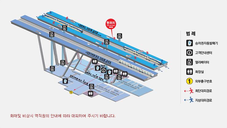 계양역 비상대피로 사진입니다. 화재 및 비상시 역직원의 안내에 따라 대피하여 주시기 바랍니다. 최단대피경로는 2층 승강장에서 비상계단 및 에스컬레이터를 이용하여 1층으로 내려오시면 됩니다.