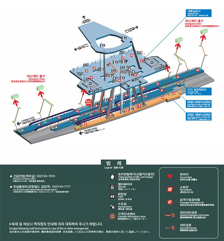 인천공항2터미널역 비상대피로 사진입니다. 화재 및 비상시 역직원의 안내에 따라 대피하여 주시기 바랍니다. 최단대피경로는 지하4층 승강장에서 비상계단 및 에스컬레이터를 이용하여 지하1층 대합실로 올라오시면 됩니다.