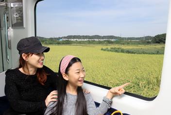 고객들이 일반열차를 타고 차창 밖 풍경을 구경하는 모습입니다.